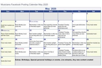 May posting calendar